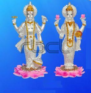 999 Silver Vishnu Laxmi Statue