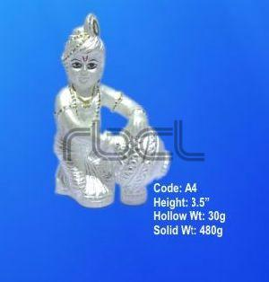A4 Sterling Silver Makhan Chor Statue
