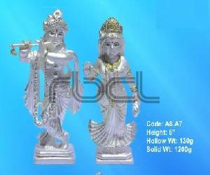 A8,A7 Sterling Silver Radha Krishna Statue