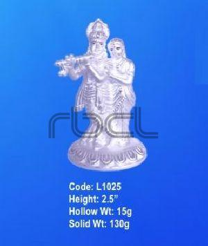 L1025 Sterling Silver Radha Krishna Statue