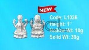 L1036 Sterling Silver Laxmi Ganesh Statue
