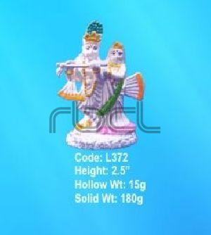 L372 Sterling Silver Radha Krishna Statue