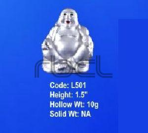 L501 Sterling Silver Laughing Buddha Statue