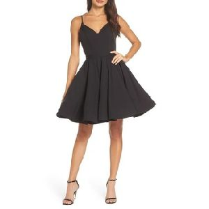 Black V neck sleeveless fit and flare knee length prom dress