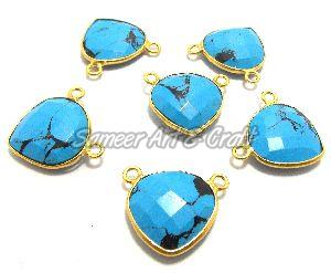 Turquoise Heart Bezel Connector