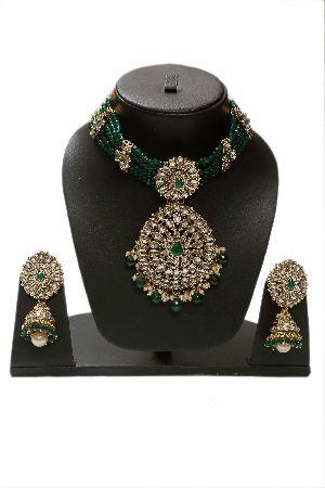 Kundan Green Pearls Choker with Jhumkis