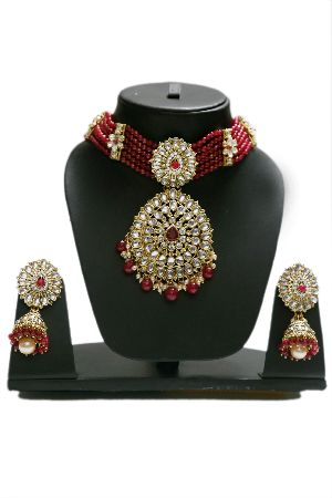 Kundan Red Pearl Choker Necklace Set