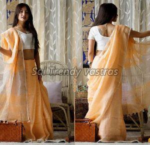 Tissue Linen Cotton Saree