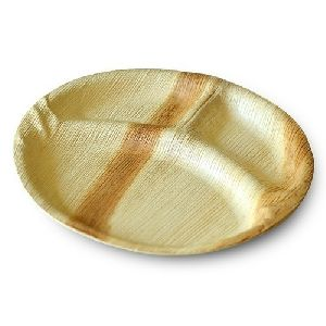 Areca Leaf 3 Partition Round Plate