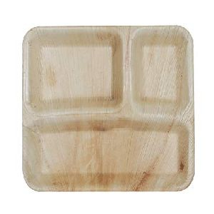 Areca Leaf 3 Partition Square Plate