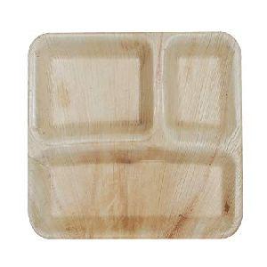 Areca Leaf 3 Partition Square Plate