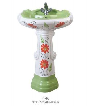 P-46 Big Sterling Pedestal Wash Basin