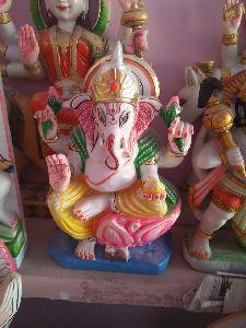 1.5 Feet White Marble Ganesh Statue
