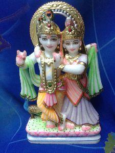 1 Feet White Marble Radha Krishna Statue