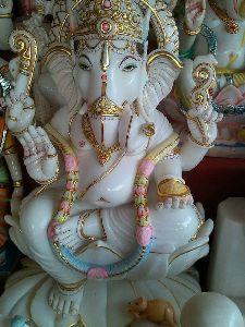 2.5 Feet White Marble Ganesh Statue
