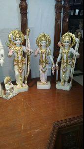 2.5 Feet White Marble Ram Darbar Statue