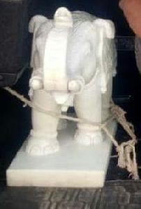 2 Feet White Stone Elephant Statue