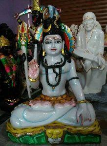3 Feet White Marble Shiv ji Statue