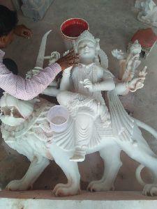 5 Feet White Marble Durga Maa Statue