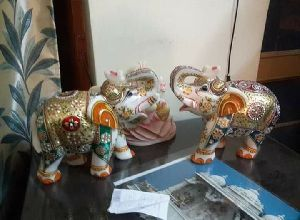 8 Inch White Stone Elephant Statue