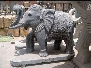 Black Stone Elephant Statue