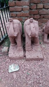 Red Stone Elephant Statue