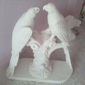 White Stone Parrot Statue