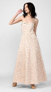 Beige Strapless Long Dress