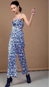 Blue Floral Print Jumpsuit