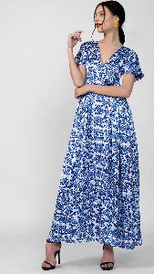 V Neck Floral Printed Long Dress