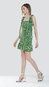 Green Shoulder Tie Up Dress