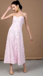 Pink Beige Strapless Long Dress
