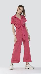 Notched Collar Jumpsuit