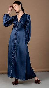Satin Navy Blue Long Dress