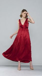Satin V Neck Long Dress