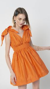 Orange Shoulder Tie Up Dress