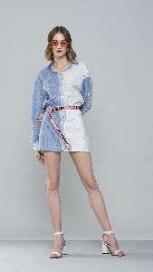 Blue and White Short Shirt Dress