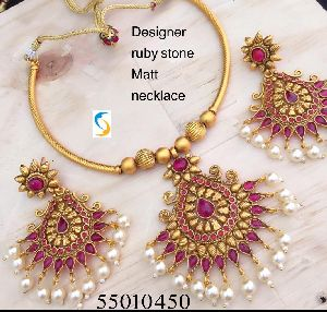 Designer Ruby Stone Necklace Set