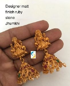 Matt Finish Ruby Stone Jhumkas