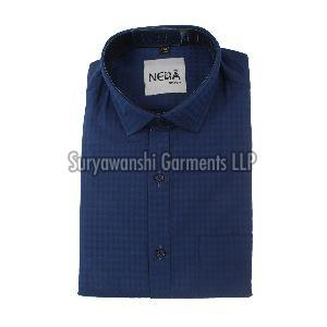 Mens Blue Check Shirt