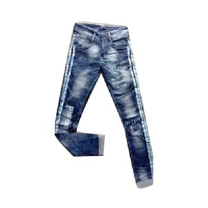 Mens Printed Denim Jeans