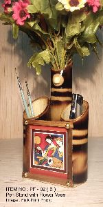Bamboo Handicraft Pen Stand with Flower Vase