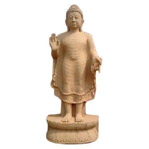 4.5 Feet Sandstone Standing Buddha Statue
