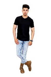 Mens Black Round Neck T Shirt