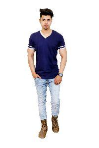 Mens Blue V Neck T Shirt