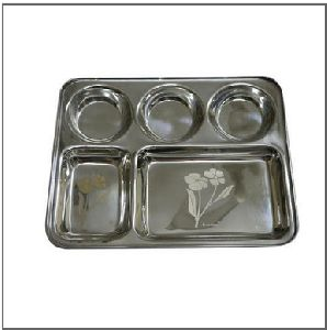5 In 1 Laser Steel Thali
