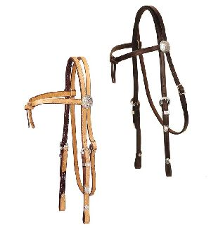 Leather Western Headstall with Silver