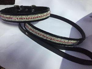 Leather Crystal Dog Collar