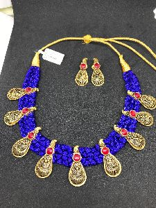 Silk Thread Gold Necklace Set