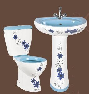 Blue Designer Pedestal Wash Basin